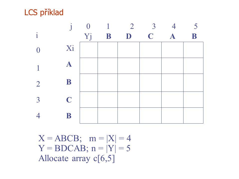 X = ABCB; m = |X| = 4 Y = BDCAB; n = |Y| = 5 Allocate array c[6,5]